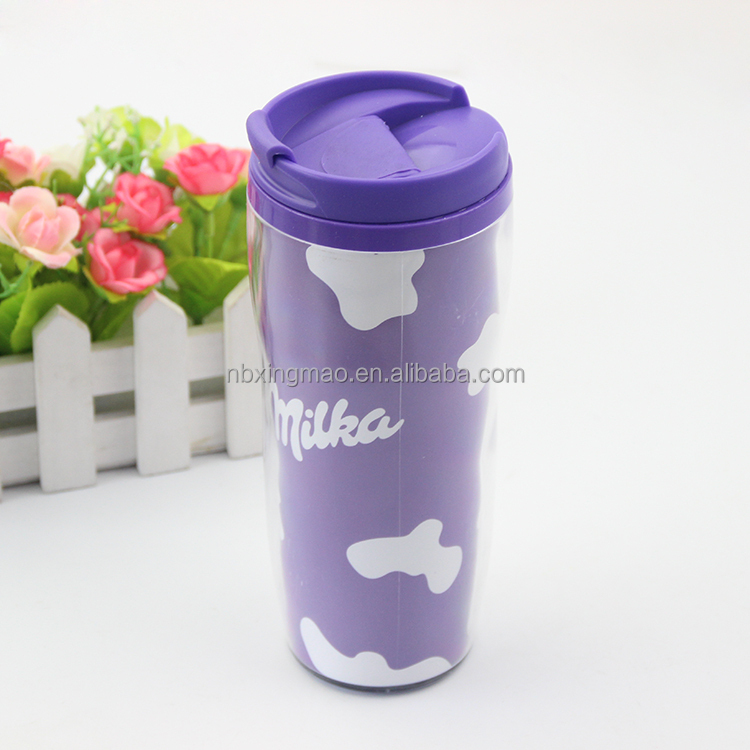 300ML purple plastic thermo mug with printed logo insert