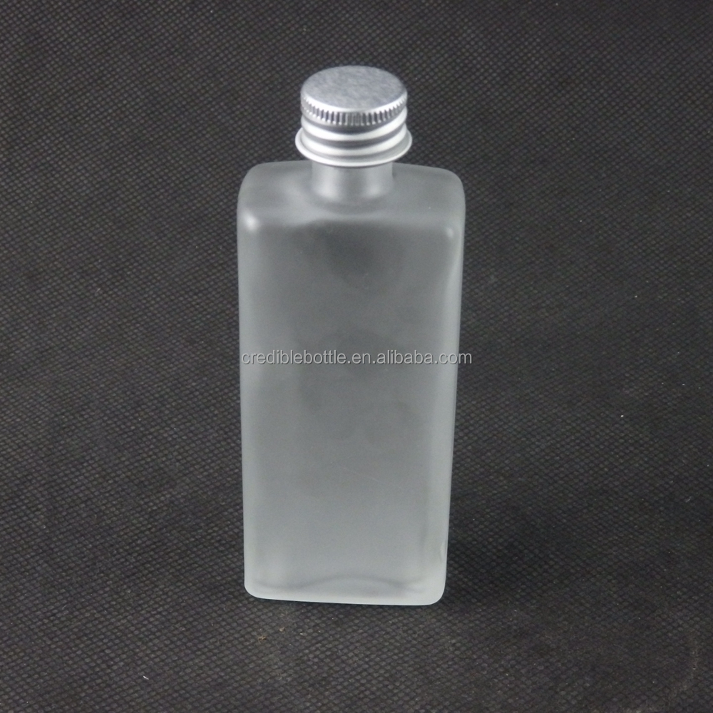 mini 70ml rectangular frosted glass beverage alcoholic bottles with silver metal lid