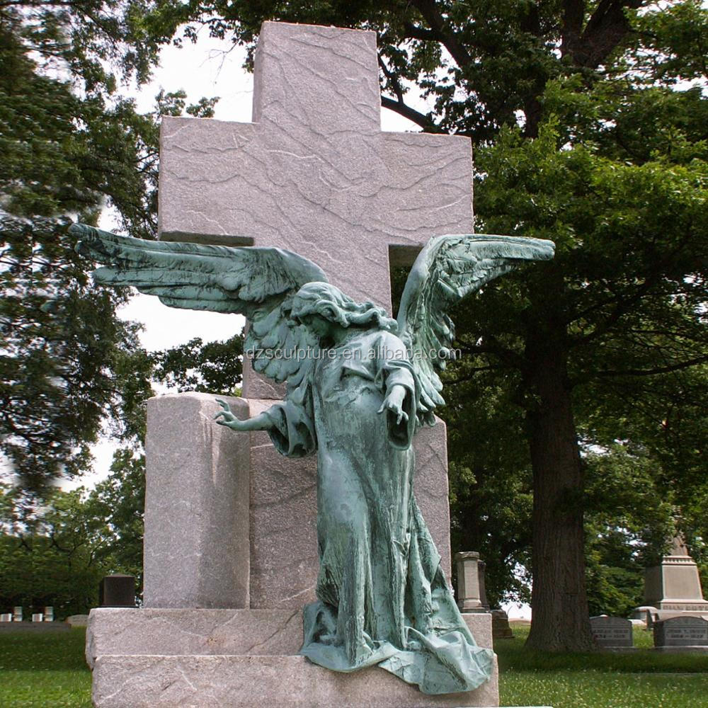 Marvelous Life Size Cast Bronze Weeping Angel Garden Statue For Cemetery Decor
