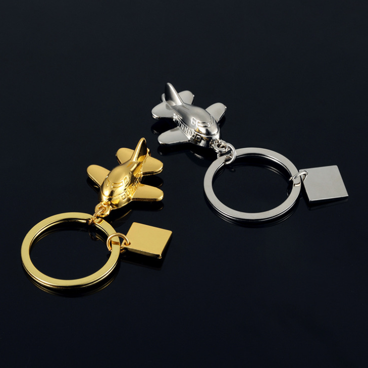 Square charm pendant mini 3D metal aircraft keychain wholesale