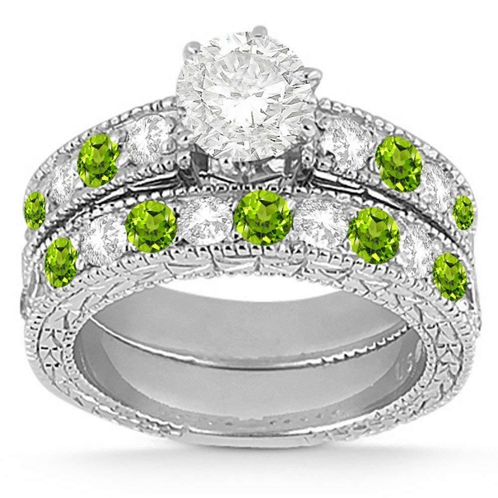 Vintage Peridot and Diamond Engagement Ring and Matching Band Bridal Ring Set Palladium (1.80ct)