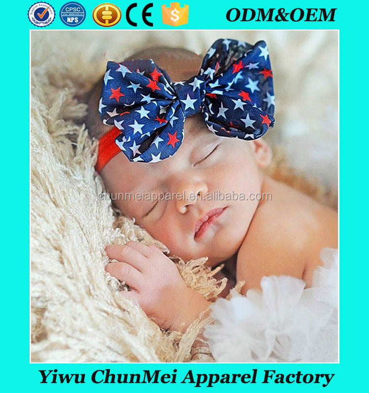 Hot-sales Baby red star Headband Infant Toddler turban Headband 4th of july kids knotted headband