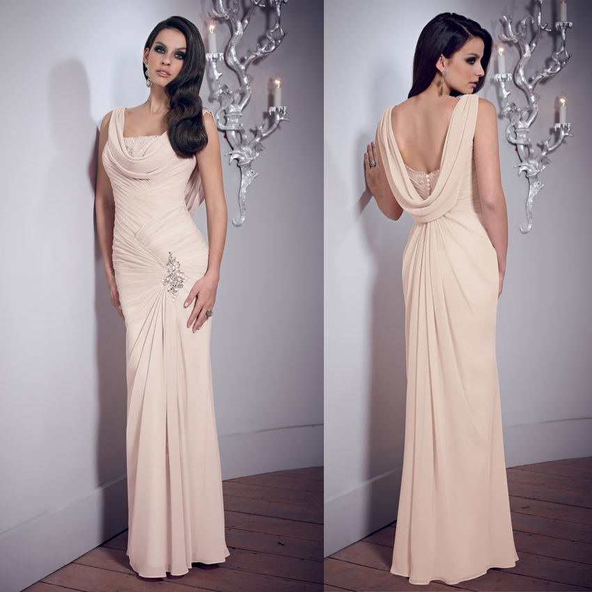 Cowl Neck Back Wedding Dresses: Wholesale Cowl Neck And Back Floor Length Peach Formal