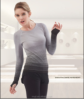 Long Sleeve Seamless Dri Fit Women Sports Wear Yoga T Shirt