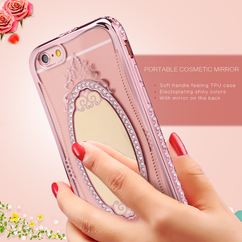 Beautiful crystal stone tpu universal silicone bling mobile phone case cover for iphone 6 6s plus