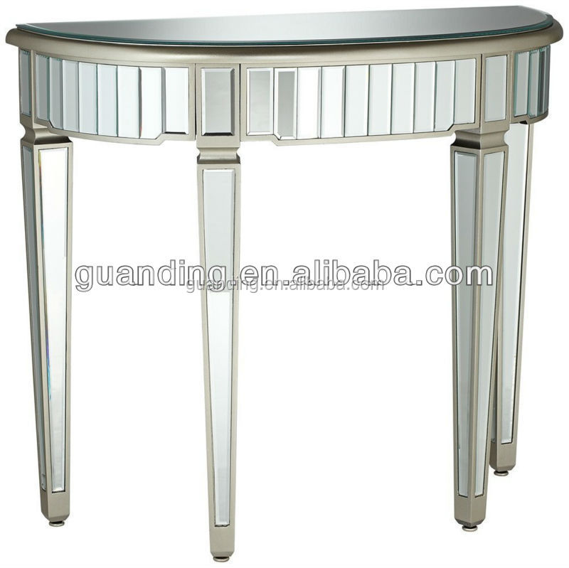 Modern Half Round Living Room Wooden Mirrored Glass Console Table   Buy  Glass Table,Console Table,Modern Table Product On Alibaba.com