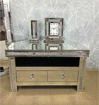 Sparkly Crushed Diamond Living Room Mirrored Corner Stand Cabinet