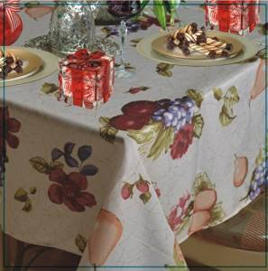 "Violet Linen European Paradise Fruits Vintage Design Printed Oblong/Rectangle Tablecloth, 60"" x 102"", Beige"