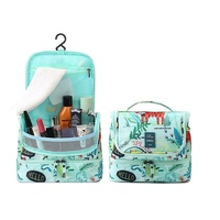 travel vacation Waterproof Nylon cosmetic bag with Hanging Hook