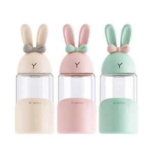 Magic rabbit cute girl glass portable water cup