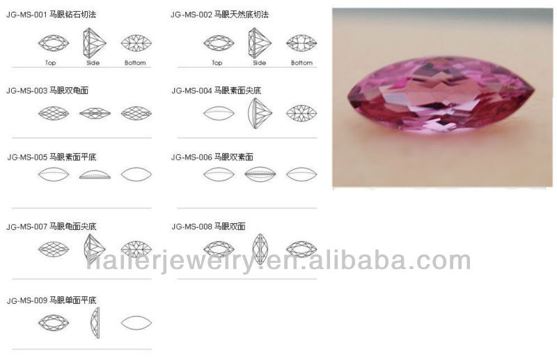 synthetic rose red No.4 marquise ruby stone