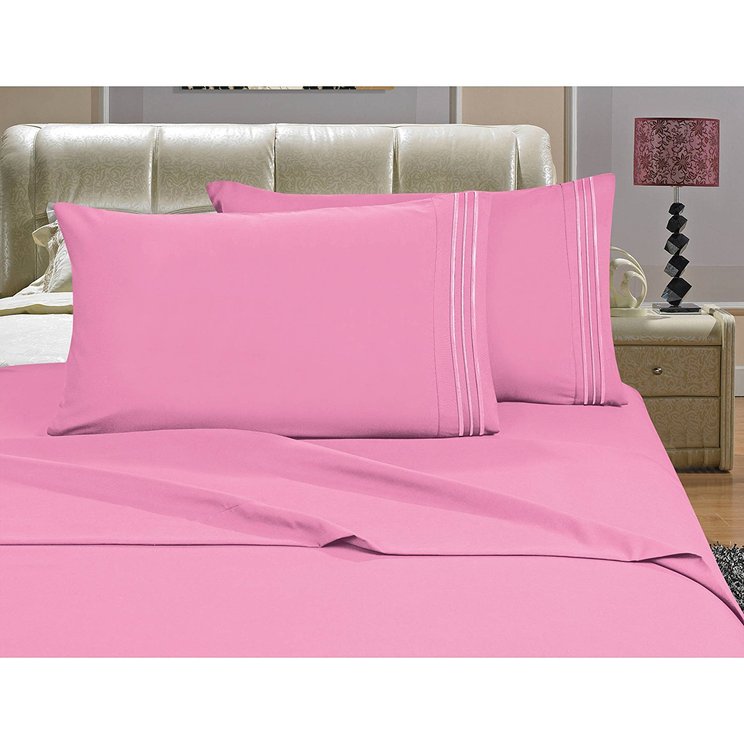 D&A 4 Piece Beautiful Light Pink King Sheet Set, Deep Pocket Bedding Embroidered Stripe Comfortable Chic Elegant Solid Classic Breathable Soft Cozy Luxurious, Microfiber, Polyester