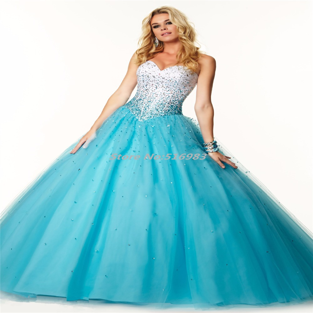 Buy 2015 New Sparkle Ball Gown Sweetheart Beading Sequined Tulle ...