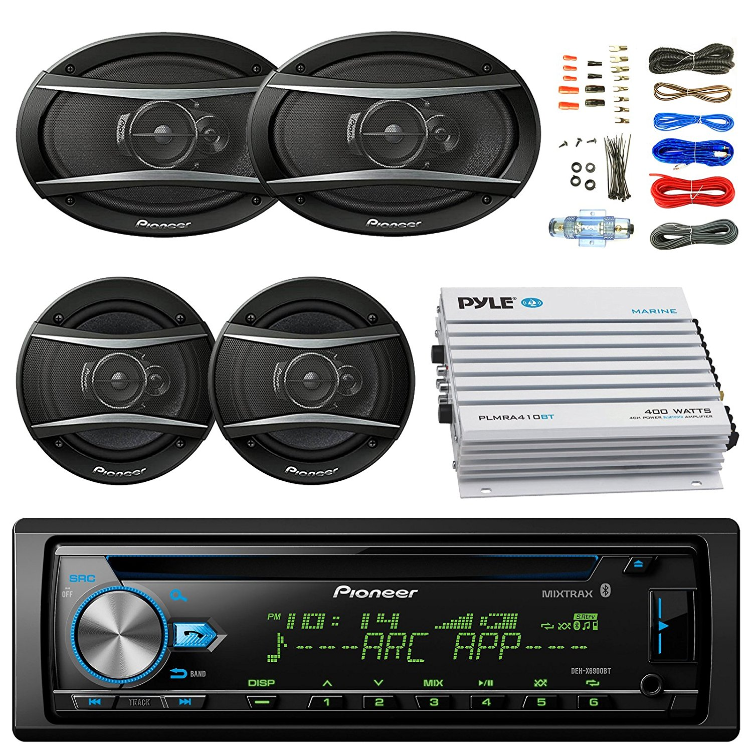 """Pioneer DEH-X6900BT Car Bluetooth Radio USB AUX CD Player Receiver - Bundle With 2x TSA1676R 6.5"""" 3-Way Car Audio Speakers - 2x 6.5""""-6.75"""" 4-Way Stereo Speaker + 4-Channel Amplifier + Amp Kit"""