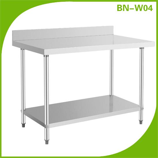 Stainless Steel Commercial Kitchen Worktable With Backsplash Custom Made  Workbench Kitchen Work Bench