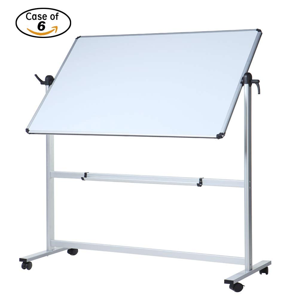 Case of 6, VIZ-PRO Double-Sided Magnetic Mobile Whiteboard, 48 x 36 Inches, Aluminum Frame & Stand