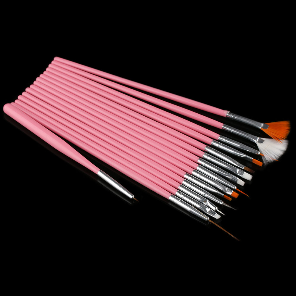 15Pc/Set New UV Gel Acrylic Nail Art Draw Painting Brushes Liner Pink Pen Set Tools
