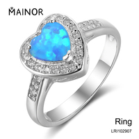 Natural Blue Opal Heart Stone 925 Sterling Silver Ring