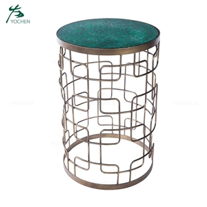 Marbled Green Glass Top Metal Side Table Living Room Furniture