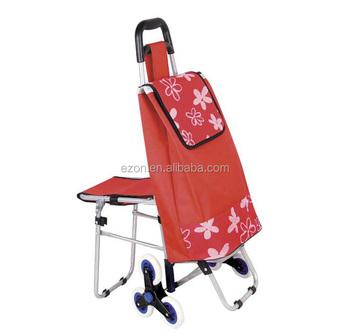 b74c451edc Saco carrinho de compras dobrável com assento, 6 roda subir escadas carrinho  de compras,