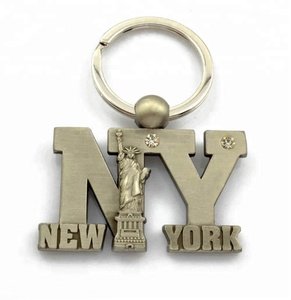 High quality Tourist souvenirs 3d metal new york keychain wholesale