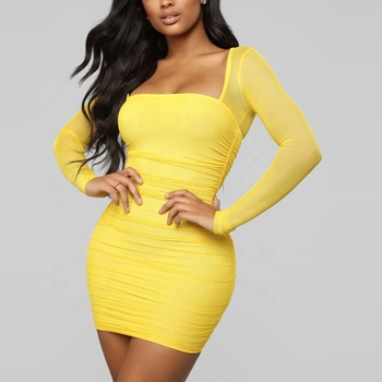 women's plus size sexy solid ruffle long sleeve mini mesh transparent club dress plus size dress