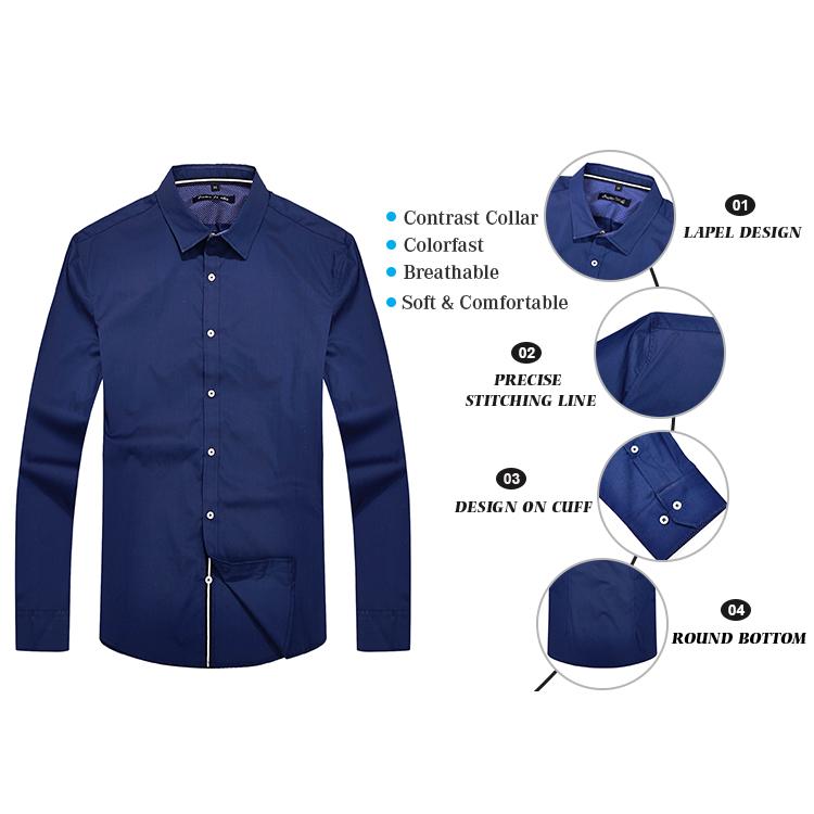 Bonne qualité hommes chemise bureau coton bleu foncé robe chemise