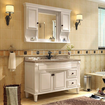 Quality oak cream bathroom vanity curved benchtop