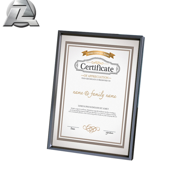 nice decorative a4 certificate aluminium frame profile for gallery display