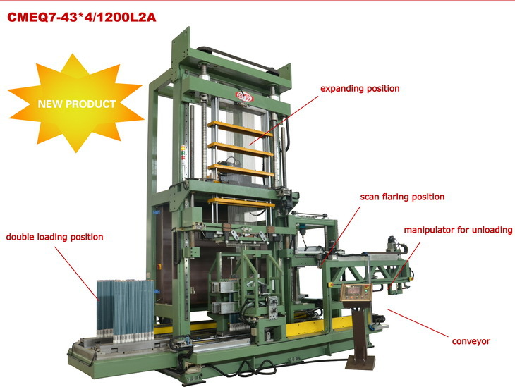 Automatic line of shrinkless tube expanding machine