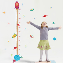 2017 New Design 30*90cm Stars and Rocket Height measurement wall Sticker growth chart wall sticker for eBay
