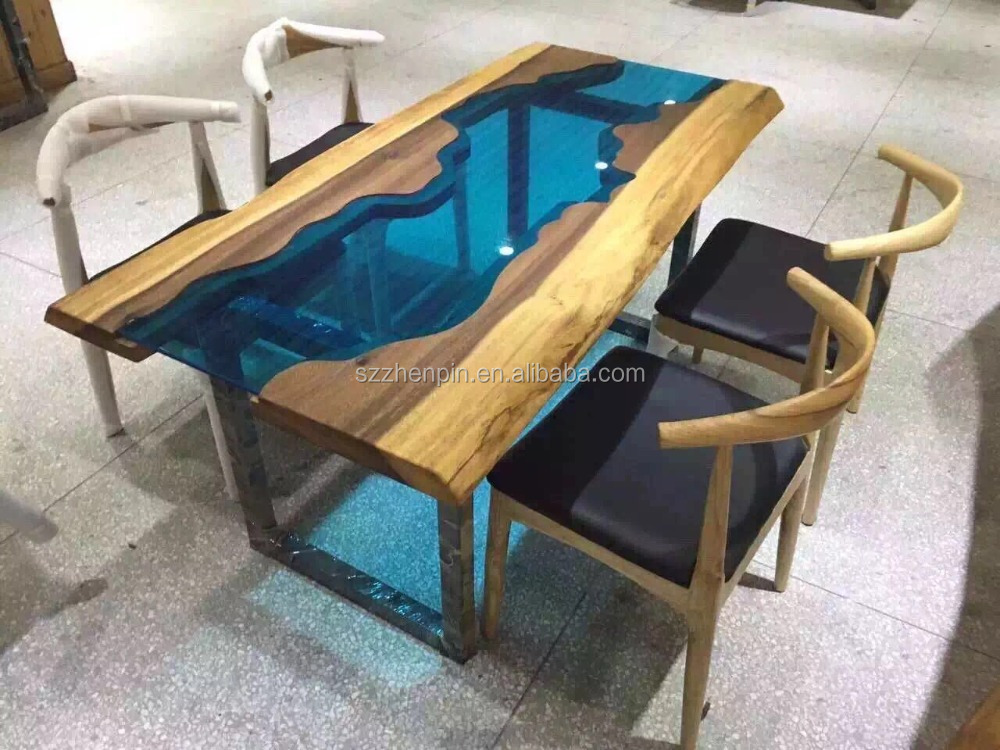 Solid Wood Dining Table Glass Inlaid Dinning Raw