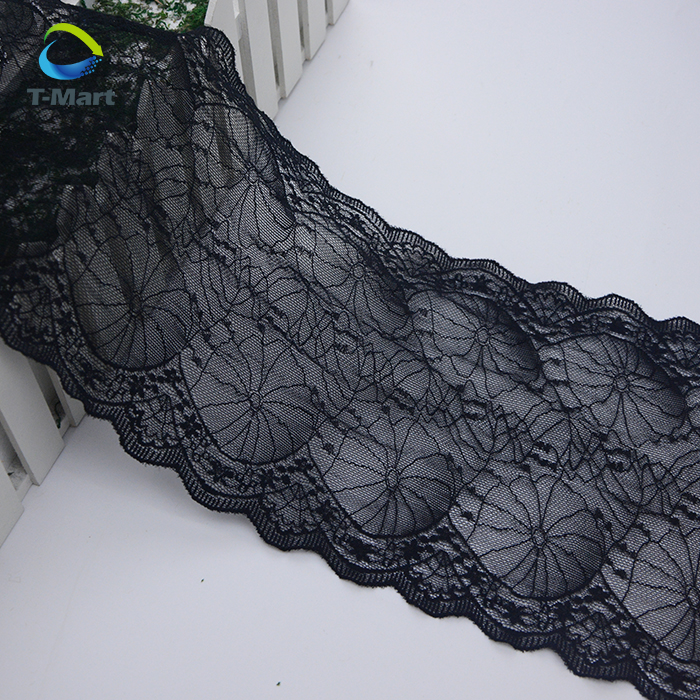 Small MOQ nylon mesh lace trim stretched net black embroidered flower lace trim black for dress border