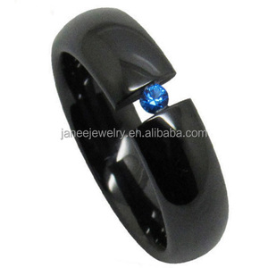 Fashion Jewelry 2017 6mm Blue Stone Engagement Rings Black Ceramic Rings