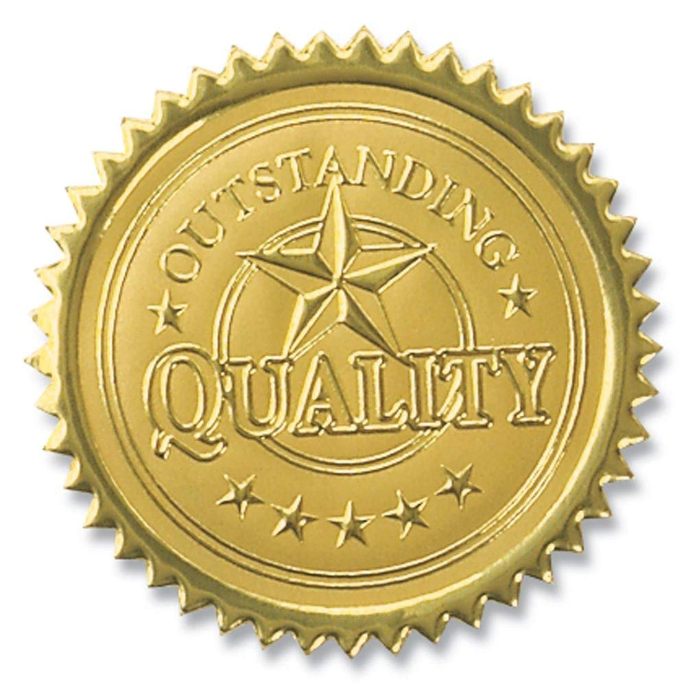 Five Star Outstanding Quality Embossed Gold Foil Certificate Seals, 2 Inch, Self Adhesive, 102 Count