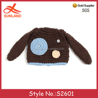 S2601 new arrivals 2017 winter dog patterns hand knit boy kids baby crochet hats