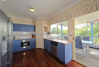 Mediterranean Style Light Blue Kitchen Cabinets Corner Pantry Design