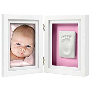 Pearhead Babyprints Newborn Baby Handprint and Footprint Desk Photo Frame & Impression Kit - Makes A Perfect Baby Shower Gift, White by Pearhead