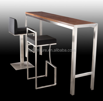 High Quality Brushed Stainless Steel Bar Table With