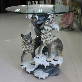 Hot Sale Resin Wolf Statue Teapoy Home Decorative Tea
