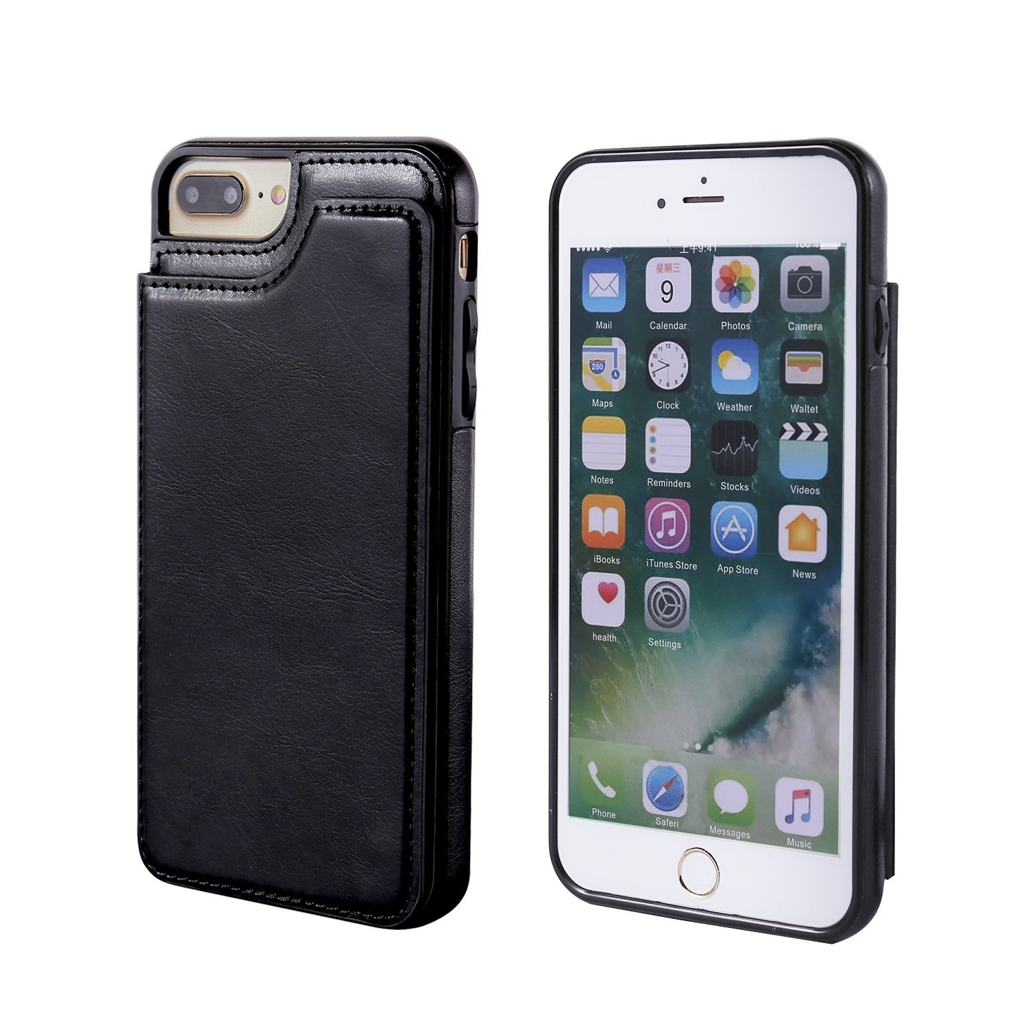 Wallet Case with Card Holder Folio Flip Shock-Absorbing Protective Case For iPhone 8 Plus 7 Plus
