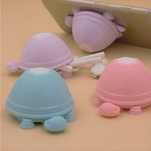 Turtle Earphone Winder Silicone Smartphone Holder Multifunction Mobilephone Sucker Stand