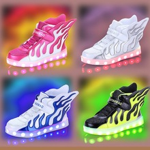 2017 new Fashion 7 Colors Kids Sneakers USB Charging Luminous Lighted shoes sport shoes Colorful LED Children Shoes size 25-37