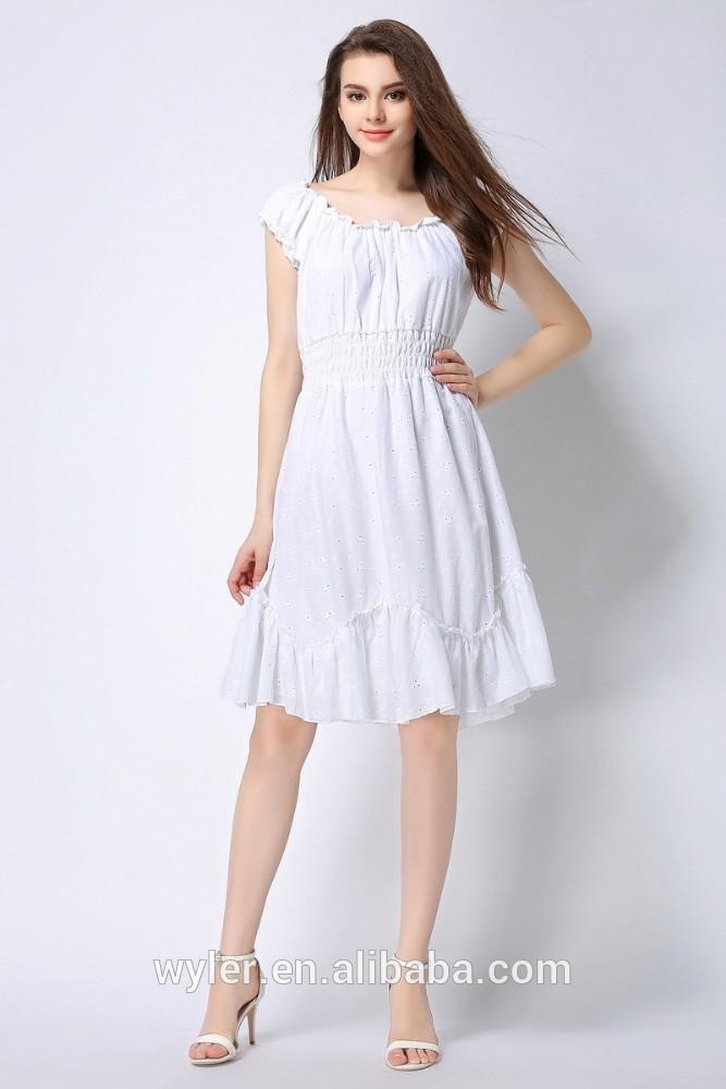 2016 Women Dress White Color Causal Cute Elegant Las 100 Cotton Womens Summer
