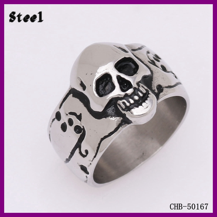 Wholesale Fashion Jewelry 316L Stainless Steel Man Skull Ring