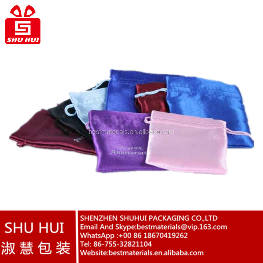 wholesale satin hair bags pure white silk satin bag colorful jewelry bracelet pouch chinese drawstring pouch bag