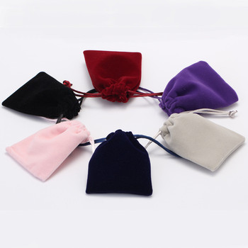 wholesale custom 7*9cm velvet bangle earing drawstring bag small jewellery pouches pink