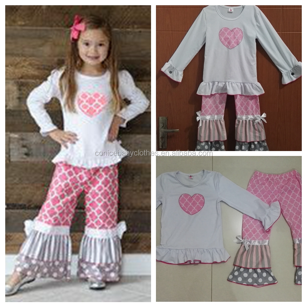 wholesale ruffle clothing sets girls valentine outfit boutique