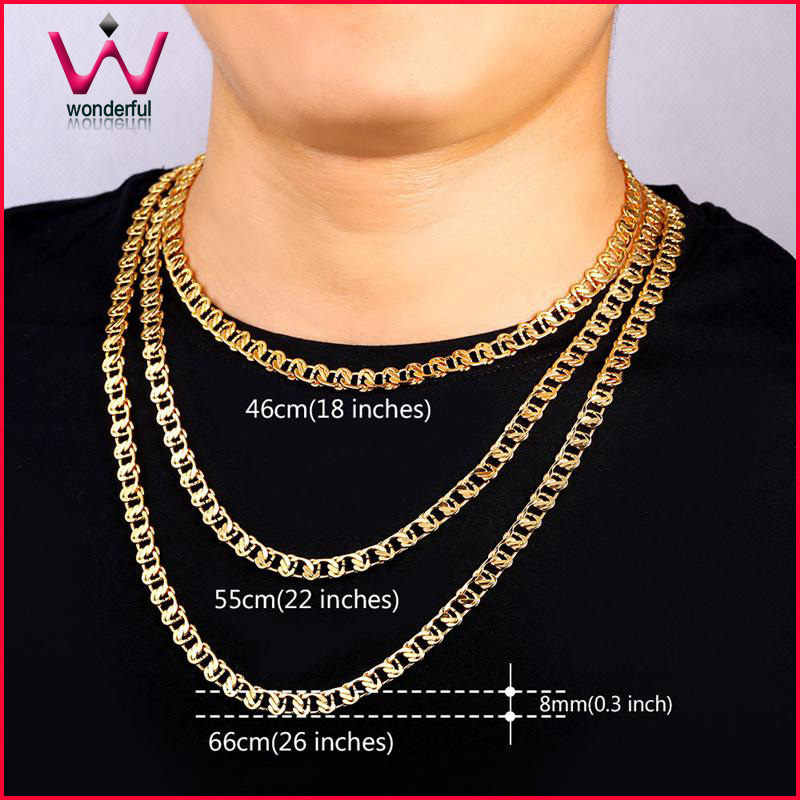 18K Gold plated Dubai gold plated jewelry Gold Chain Necklace Bracelet  Women Men Jewelry three size for one Set f367d31278d9