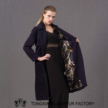 Coat lamb 100% shearling sheepskin long black coat made in china